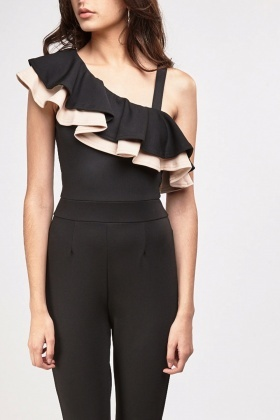 One Shoulder Ruffle Overlay Jumpsuit