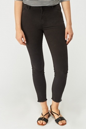 Raw Edge Skinny Denim Jeans