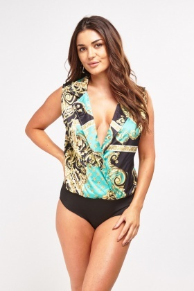 Baroque Print Sleeveless Bodysuit