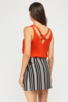 Cross Back Red Cami Top