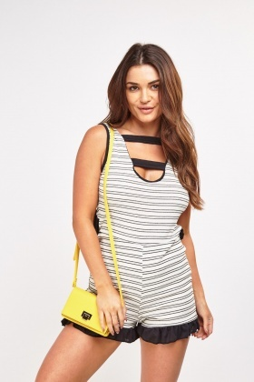 Cut Out Striped Ribbed Playsuit