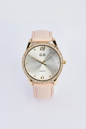 Diamante Faux Leather Watch
