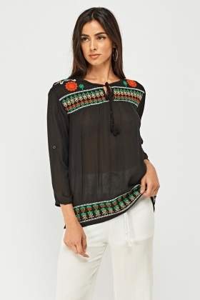 Embroidered Ethnic Bohemian Blouse