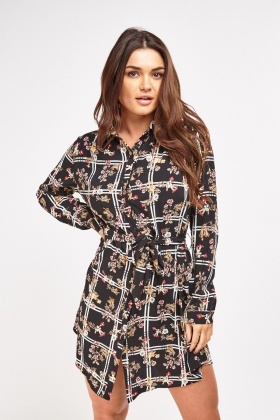 Floral Print Contrast Shirt Dress