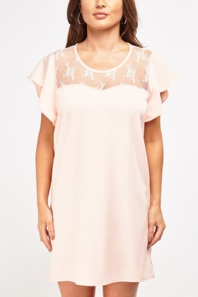 Lace Insert Chiffon Shift Dress