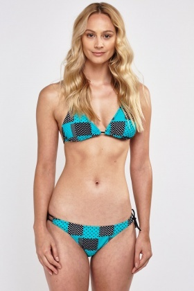 Polka Dot Checked Triangle Bikini Set