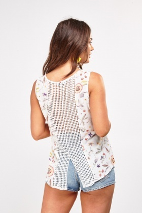 Printed Crochet Back Detail Top