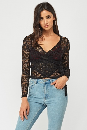 Tie Up Wrap Lace Top