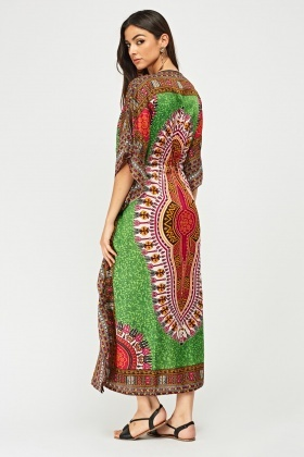 Tribal Print Maxi Kaftan Dress