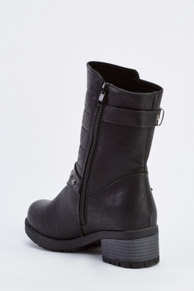Buckle Side Detail Biker Boots