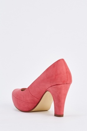 Faux Leather Mid Heel Pumps