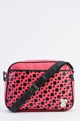 Faux Leather Polka Dot Messenger Bag