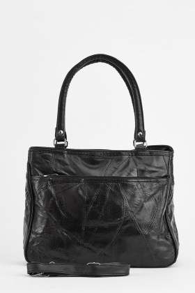 Faux Leather Stitched Handbag