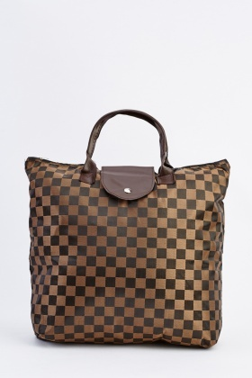 Foldable Checker Shopper Bag