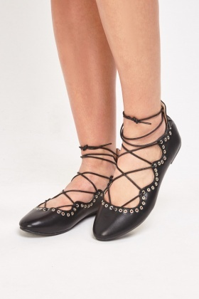 Lace Up Flat Ballet Pumps