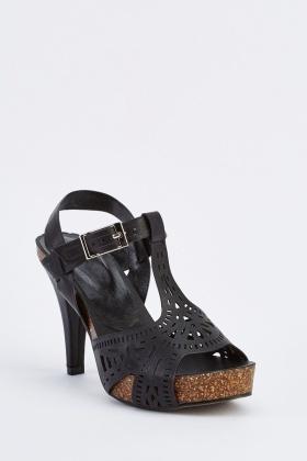 24c7e307778bf6 Laser Cut Faux Leather Heels