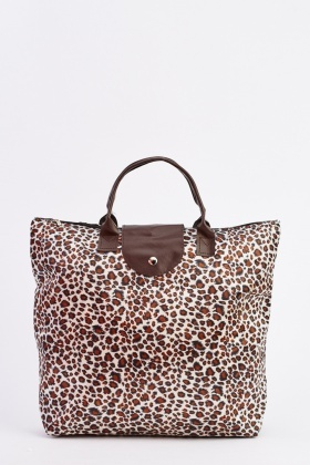 Leopard Print Foldable Shopper Bag