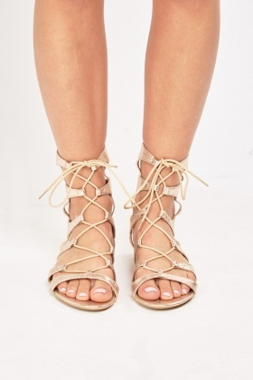 Metallic Lace Up Flat Gladiator Sandals