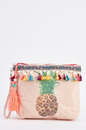 Pineapple Tassel Print Cosmetic Bag