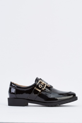 PVC Oxford Buckle Brogue Shoes