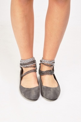 Rope-Chain Strap Ballet Pumps