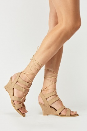 Suedette Lace Up Wedge Sandals