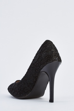 Textured Embellished Court Heels