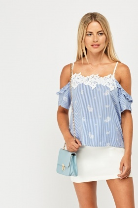 Crochet Trim Cut Out Shoulder Top