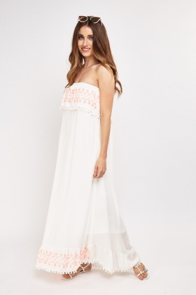 Embroidered Pom Pom Bandeau Maxi Dress