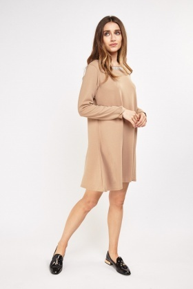 Encrusted Neck Textured Swing Dress