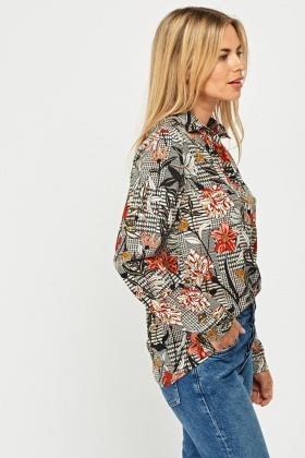 Floral Glen Check Print Shirt Blouse