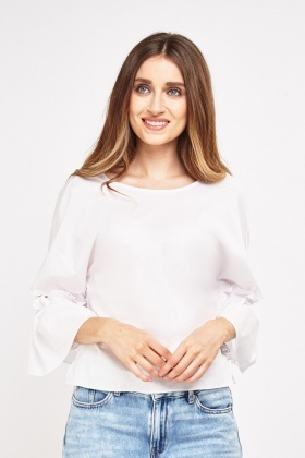 Frilly Gathered Sleeve Box Top