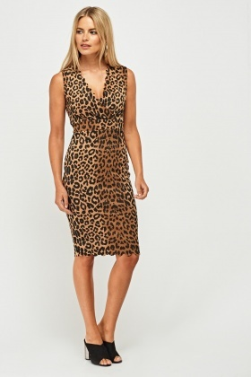 Leopard Print Scallop Trim Dress