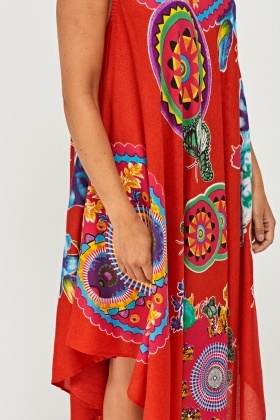 Mixed Print Tent Midi Dress