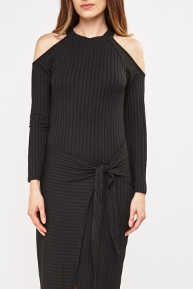 Ribbed Tie Up Wrap Dress