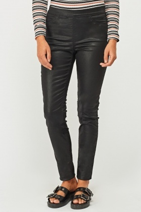 Skinny Fit Waxed Jeggings