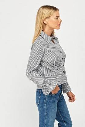 Striped Flare Sleeve Shirt