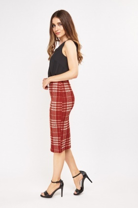 Textured Tartan Pencil skirt