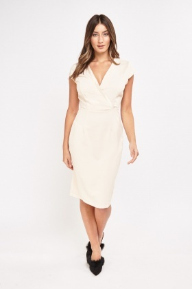 Contrast Trim Wrap Dress