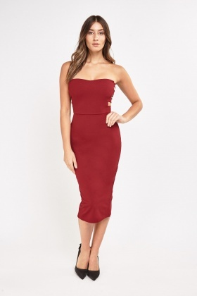 Cut Out Side Midi Bandeau Dress