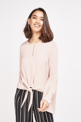 Flare Sleeve Knotted Hem Top