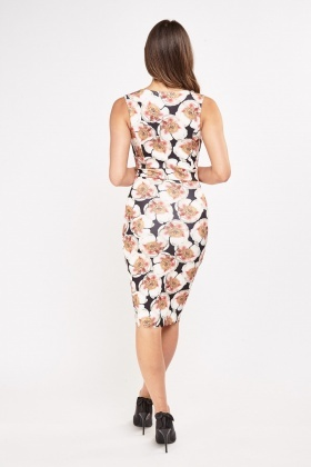 Flower Print Scallop Trim Dress