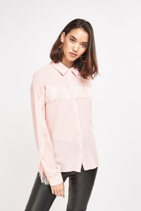 Fringed Front Sheer Shirt