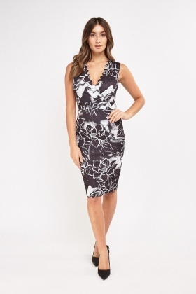 Printed Midi Scallop Dress