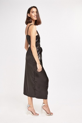 Sateen Wrap Midi Dress