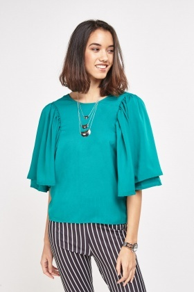 Wide Frilly Sleeve Blouse