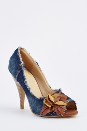 Denim Peep Toe Heels