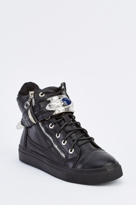Detailed Black High Top Trainers