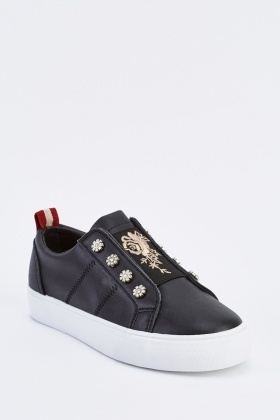 Embroidered Platform Trainers