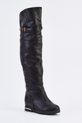 Faux Leather Knee High Buckled Boots